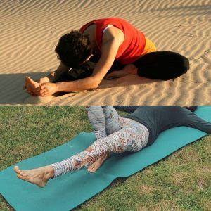 How to Stretch: Yoga posture on Anna Bay Dunes.